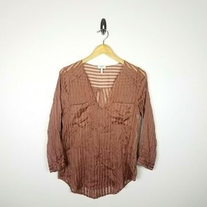 Joie Mauve Striped Semi Sheer Blouse Small Pink